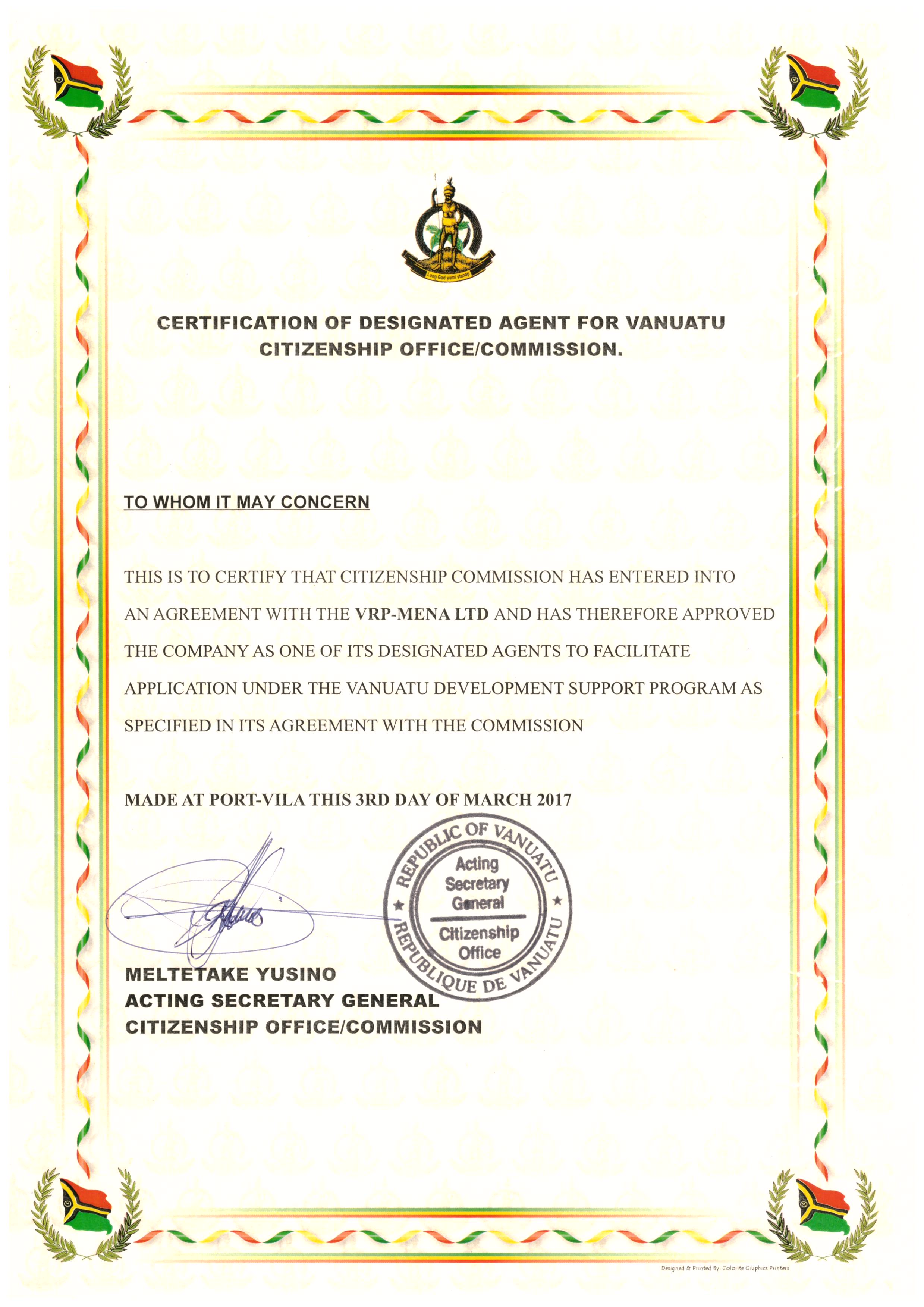CERTIFICATION FROM VANUATU CITIZENSHIP OFFICE COMMISSION